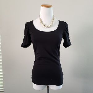 Puff sleeve forever 21 black top sz S